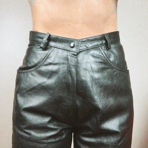 Black Leather Full Lined High Waisted Leather Pant
